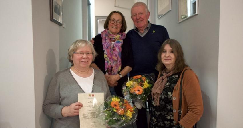 Die Jubilare (v.l.n.r): Rita Lotz (30 Jahre), Sophie Eckert (25 Jahre), Horst Kunisch (30 Jahre), Elsbet Wiens (25 Jahre), Walter Jäger (25 Jahre), nicht auf dem Bild.