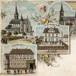 Ausschnitt Lithographie-Postkarte Hausen um 1900