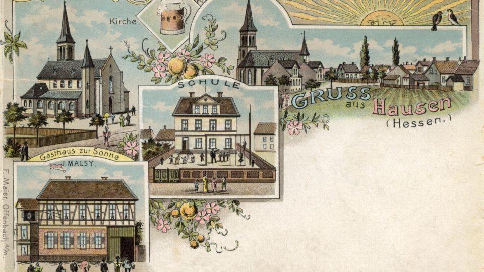 Lithographie-Postkarte Hausen um 1900
